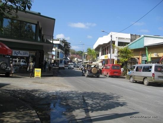 Main drag in Port Vila on a Vanuatu Honeymoon with things to do in Port Vila