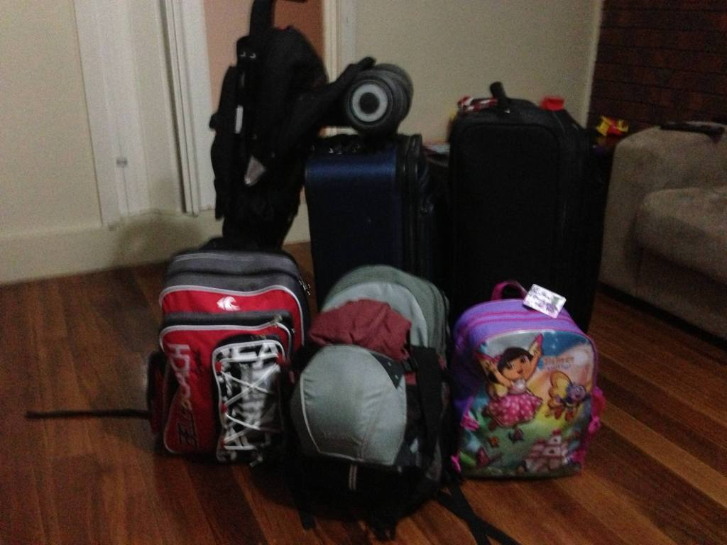 Suitcases and bags for a family trip to asia