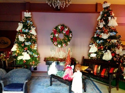 Christmas trees in reception at Sampaguita Gardens Resort philippines