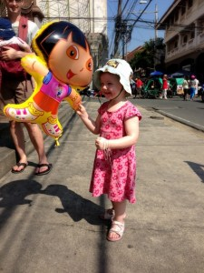 S with her prized Dora balloon in Manila