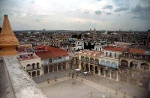 View of town square in Old Havana from Camara Oscura