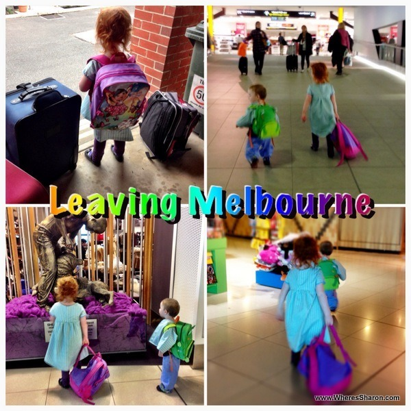 walking around melbourne airport with a baby and a toddler to fly to Losa Angeles