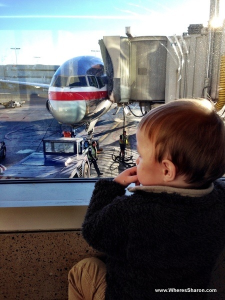 baby looking at planes out the window at LAX