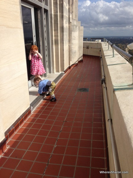 The kids at the lookout on the State Capitol Building