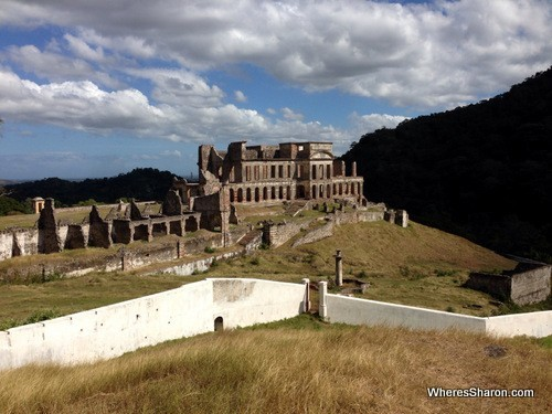 What remains of Sans Souci, looking down from the road to the Citadel.
