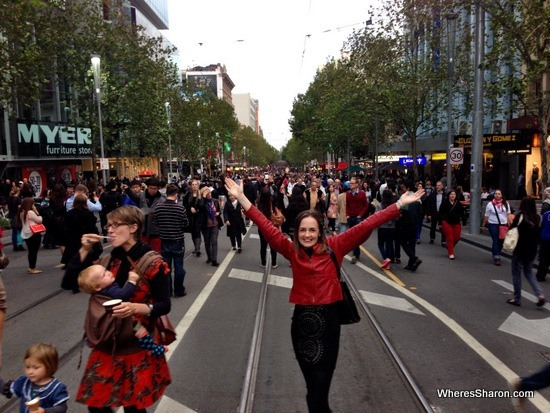 swanston st at white night melbourne