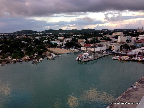 View of St Johns from the cruise ship in antigua