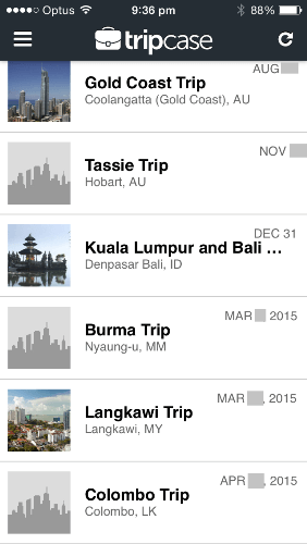 TripCase Upcoming Trips