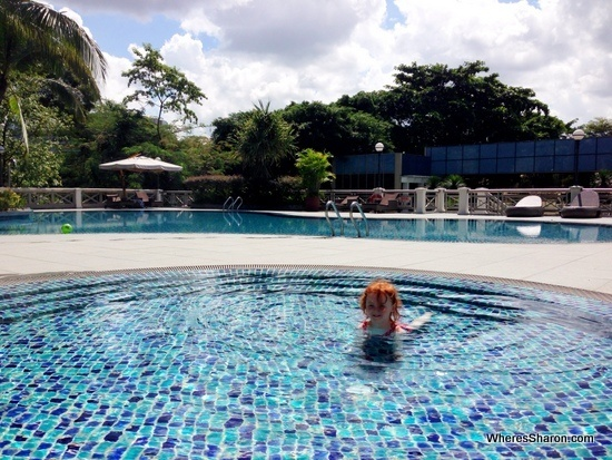 Two of the swimming pools at Hotel Fort Canning