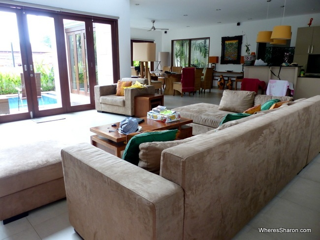 living, dining and kitchen in ubud family villa
