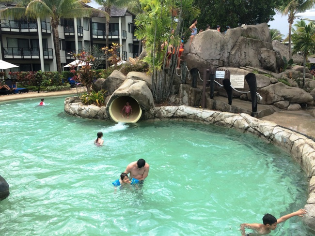 Primary school aged kids will ride the water slide endlessly at Radisson Blu Resort