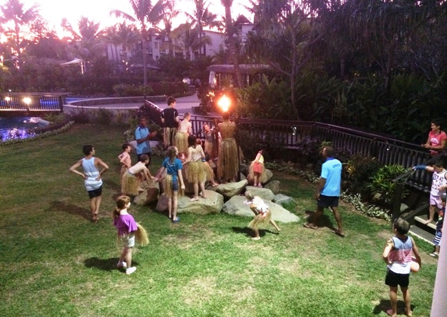 best island in fiji for families Kids Club at Radisson Blu Resort joining in the torch lighting ceremony