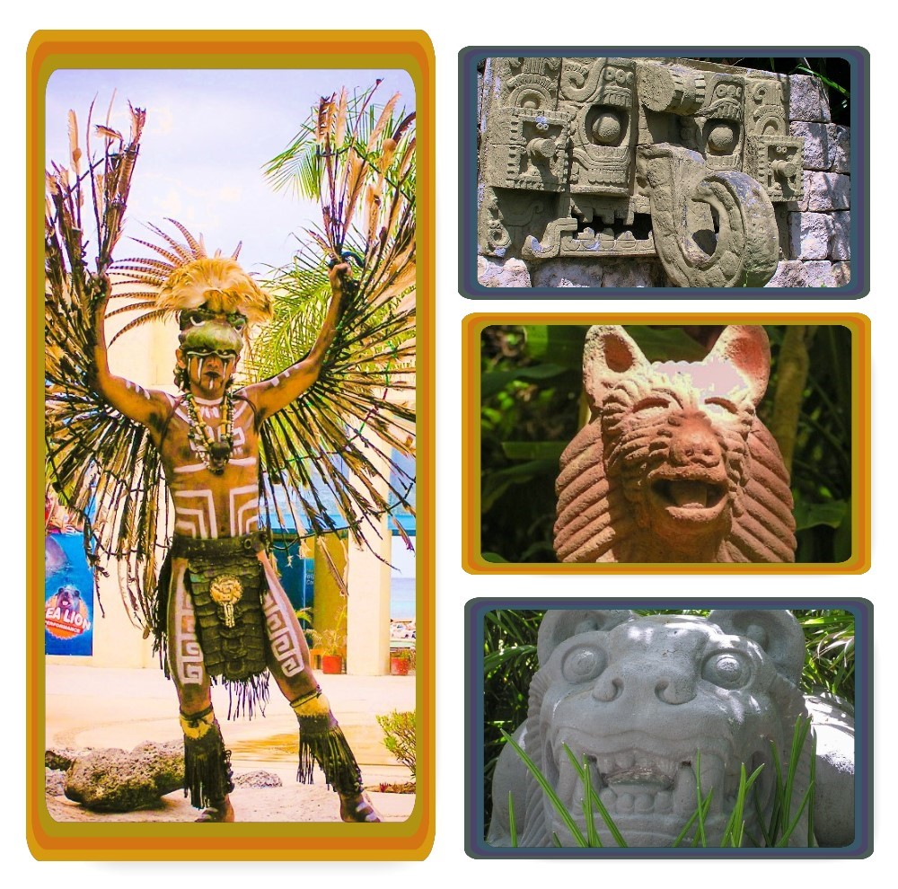 Mayan dancer and sculptures on the grounds of Chankanaab Beach Adventure Park on Cozumel, Mexico.