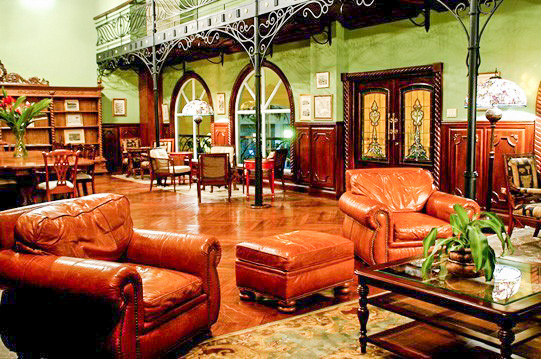 Leather chairs in the Library at Gamboa Rainforest Resort