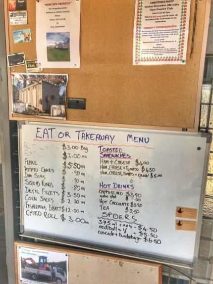 "Bronte Park Servo/General Store ""menu"""