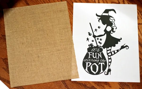 Sassy Witch Printed on Burlap (with a Home Printer!)