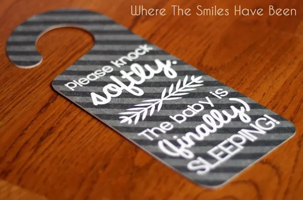 Sleeping Baby Door Hanger Tutorial & FREE Cut File | Where The Smiles Have Been