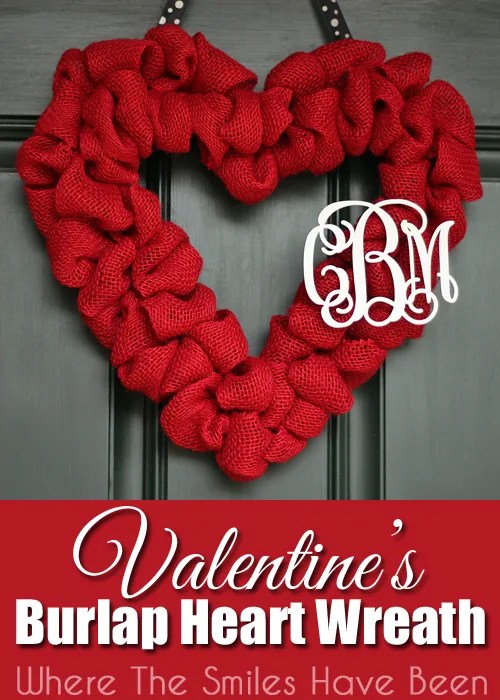 Valentine's Burlap Heart Wreath