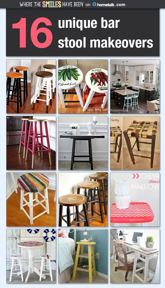 16 Unique Bar Stool Makeovers via Where The Smiles Have Been & Hometalk!