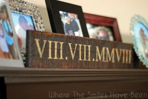 Pallet Wood Roman Numeral Anniversary Sign | Where The Smiles Have Been
