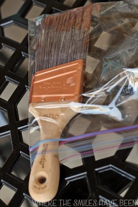 TIP: When doing a painting project that requires multiple coats, just put your wet paint brush in a plastic bag instead of washing it off in between coats!