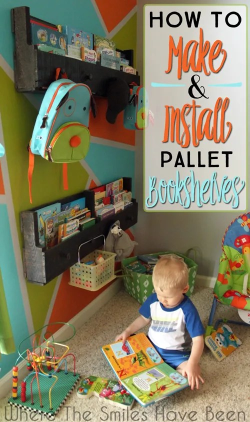 How to Make and Install Pallet Bookshelves | Where The Smiles Have Been