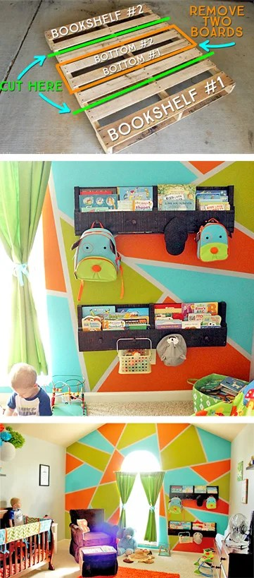 How to Make and Install Pallet Bookshelves   Where The Smiles Have Been #pallet #palletbookshelf