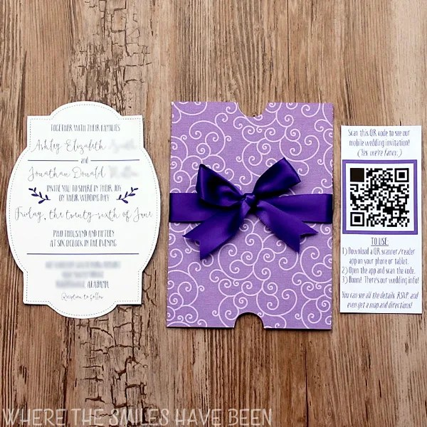 DIY Wedding Invites With Mobile App & QR Code FREE Cut Files