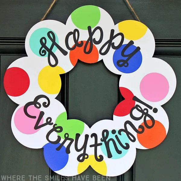 Year-Round Happy Everything Wreath: A Coton Colors Knock Off! | Where The Smiles Have Been