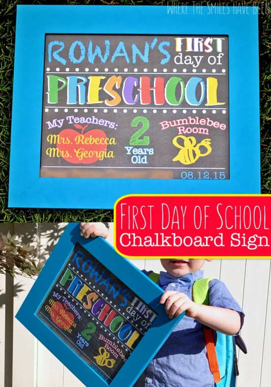 DIY First Day of School Chalkboard Sign Photo Prop | Where The Smiles Have Been