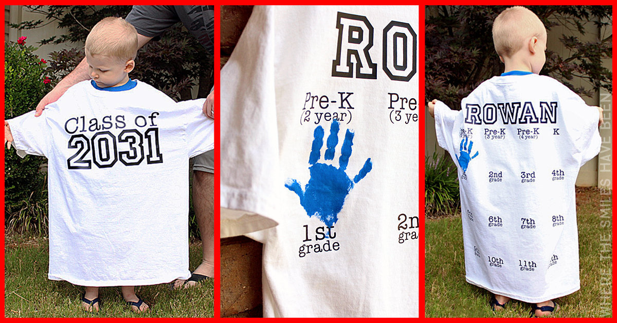 fb8f5bab Yearly Back-to-School Shirt with Handprints for Every Grade