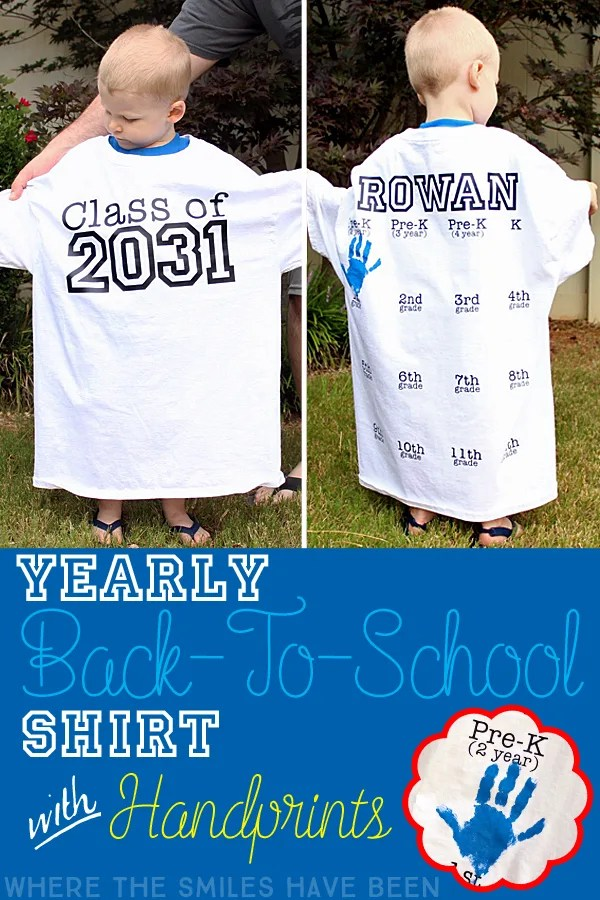 a8f2dd13 Yearly Back-to-School Shirt with Handprints for Every Grade!