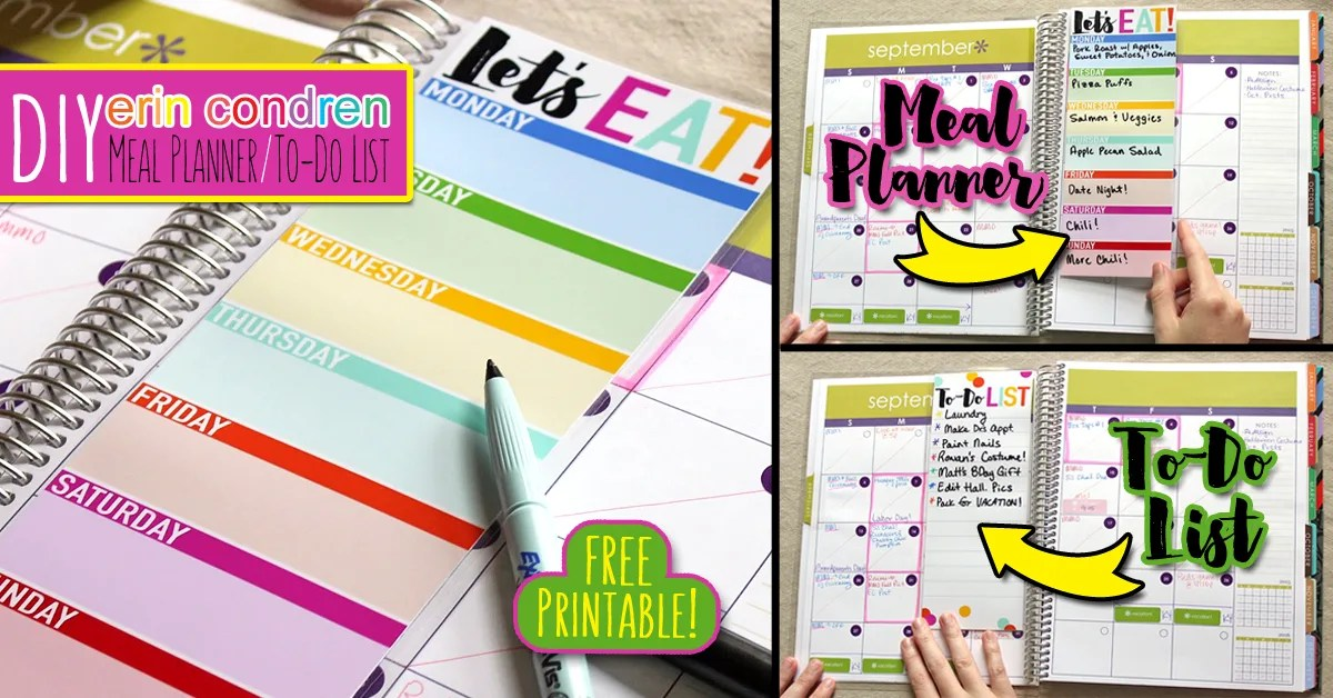 DIY Erin Condren Snap-In Meal Planner/To-Do List & FREE Printable! | Where The Smiles Have Been