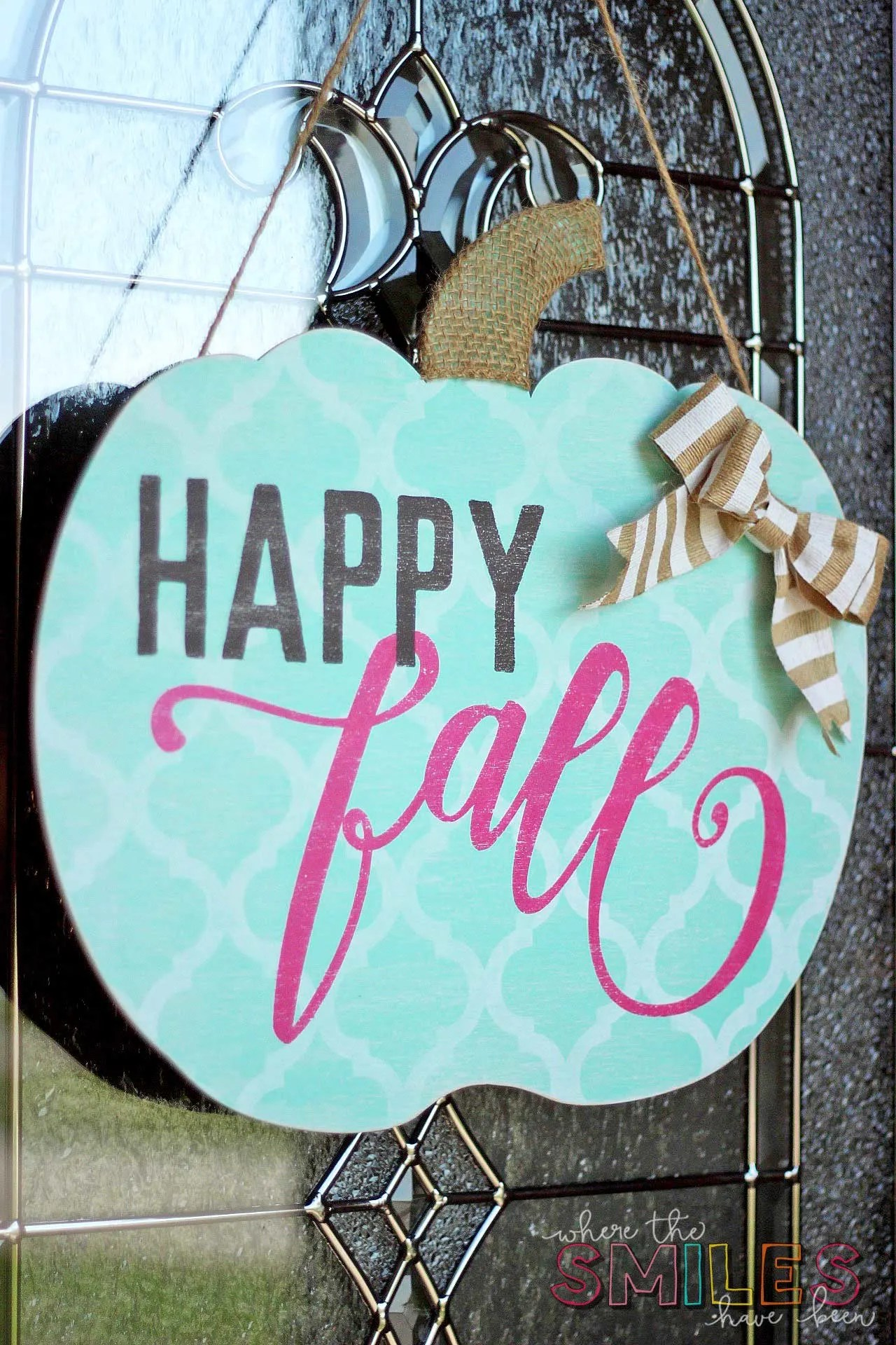 Happy Fall Pumpkin Door Hanger: My Girl Gourd | Where The Smiles Have Been #Fall #wreath #pumpkin
