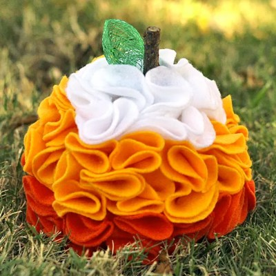 Candy Corn Ruffled Felt Pumpkin