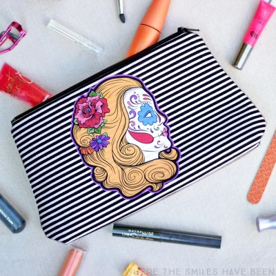 Sugar Skull Makeup Bag Using Printable HTV: Drop Dead Gorgeous!