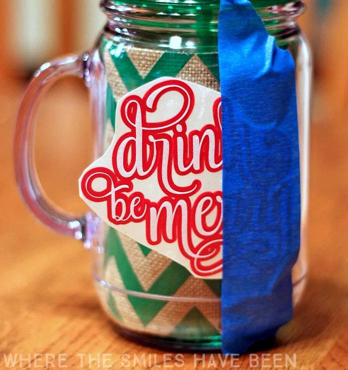 'Drink and Be Merry' Christmas Mason Jar | Where The Smiles Have Been