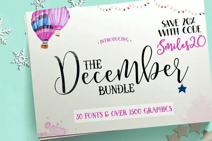 The Hungry JPEG's December Font Bundle! Save 20% with code Smiles20!