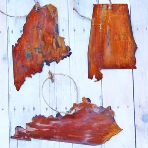 DIY Faux Rusted Metal State Ornaments from a Cereal Box!
