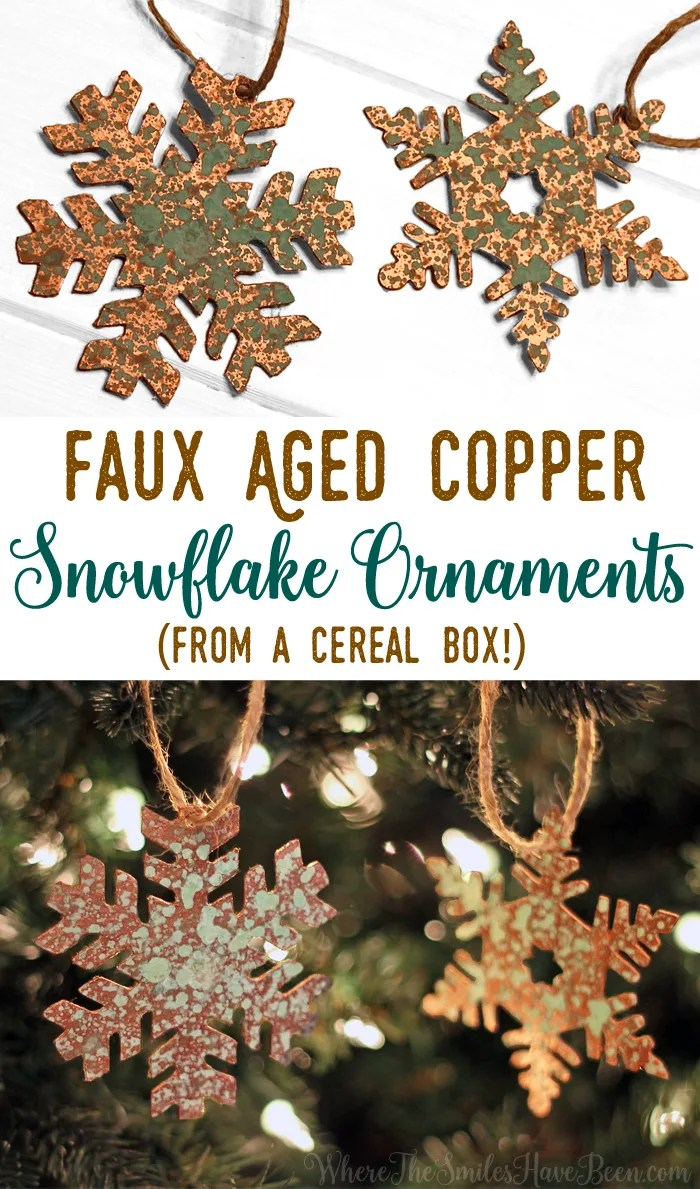 DIY Faux Aged Copper Snowflake Ornaments from a Cereal Box!   Where The Smiles Have Been