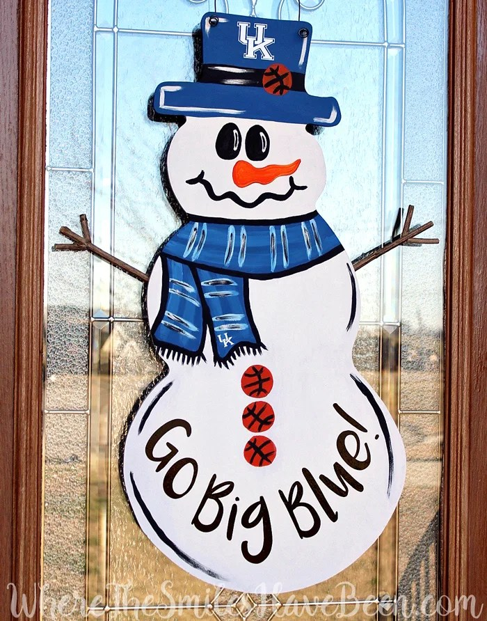 Univ Of Kentucky Basketball Snowman Door Hanger