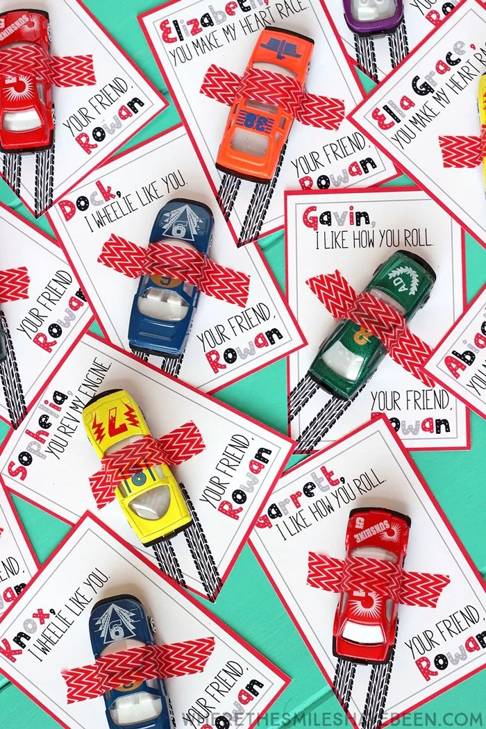Race Car Valentine's Day Cards with Free Printable!   Where The Smiles Have Been