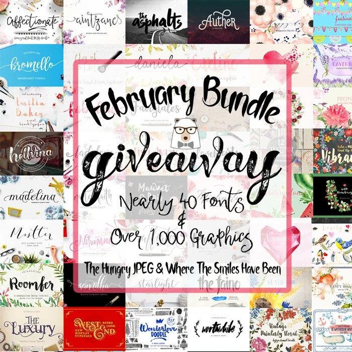 The February Bundle Giveaway from The Hungry JPEG & Where The Smiles Have Been!
