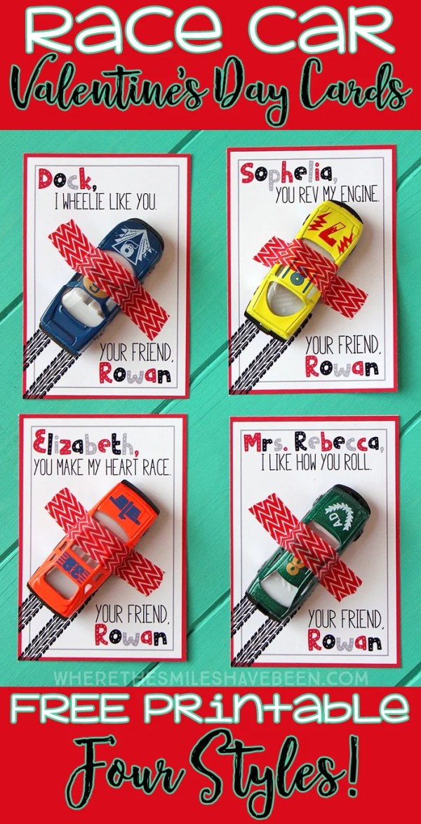 Race Car Valentine's Day Cards with Free Printable! | Where The Smiles Have Been