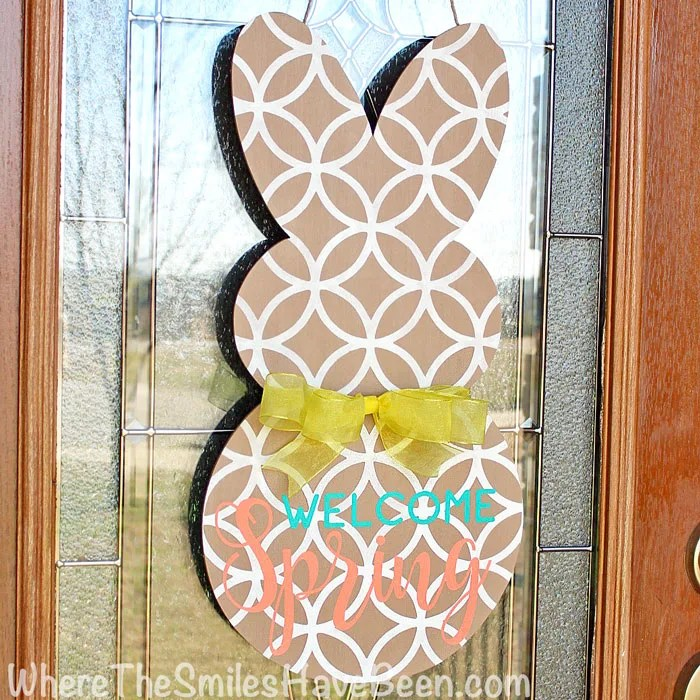 Spring Bunny Door Hanger. This is the perfect alternative wreath idea for Easter and beyond! | Where The Smiles Have Been