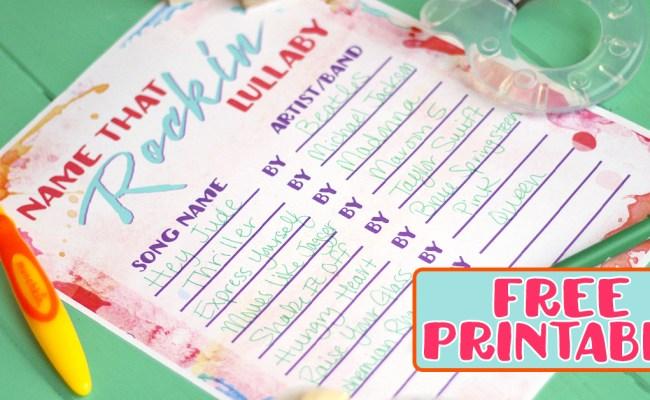 Baby Shower Game Free Printable Name That Rockin Lullaby