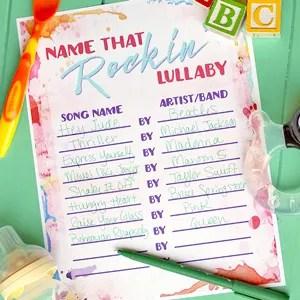 Baby Shower Game Free Printable: Name That Rockin' Lullaby!