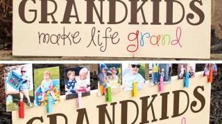 Colorful 'Grandkids Make Life Grand' Wood Sign Photo Display