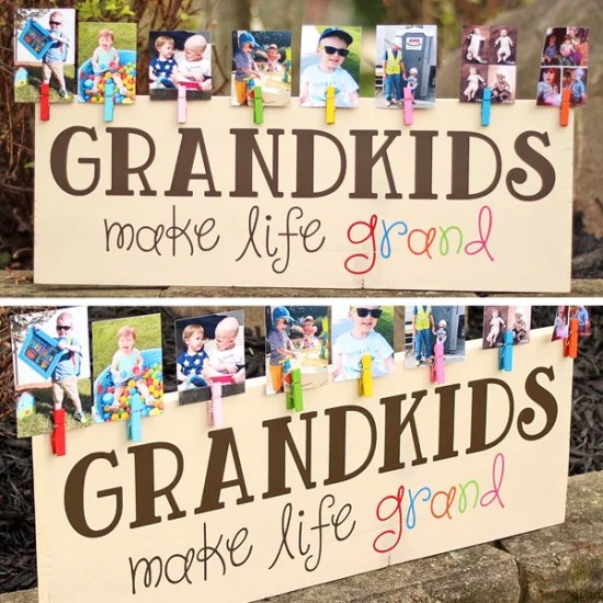 Colorful Grandkids Make Life Grand Wood Sign Photo Display | Where The Smiles Have Been
