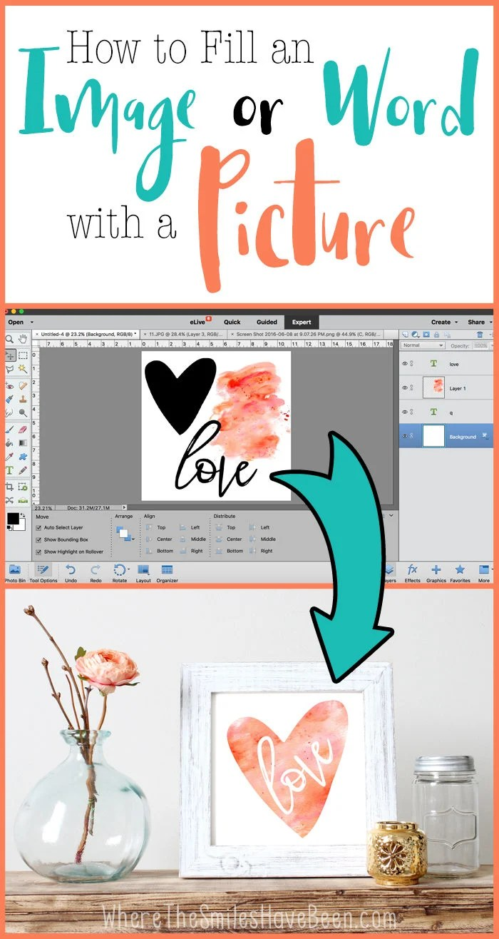 How to Fill an Image or Word with a Picture in Photoshop: A Clipping Mask! | Where The Smiles Have Been
